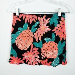Nasty Gal Blossom Floral Mini Sequin Skirt